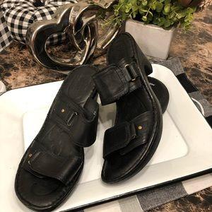 Born Bellet Heeled Black Leather Sandals.   #12